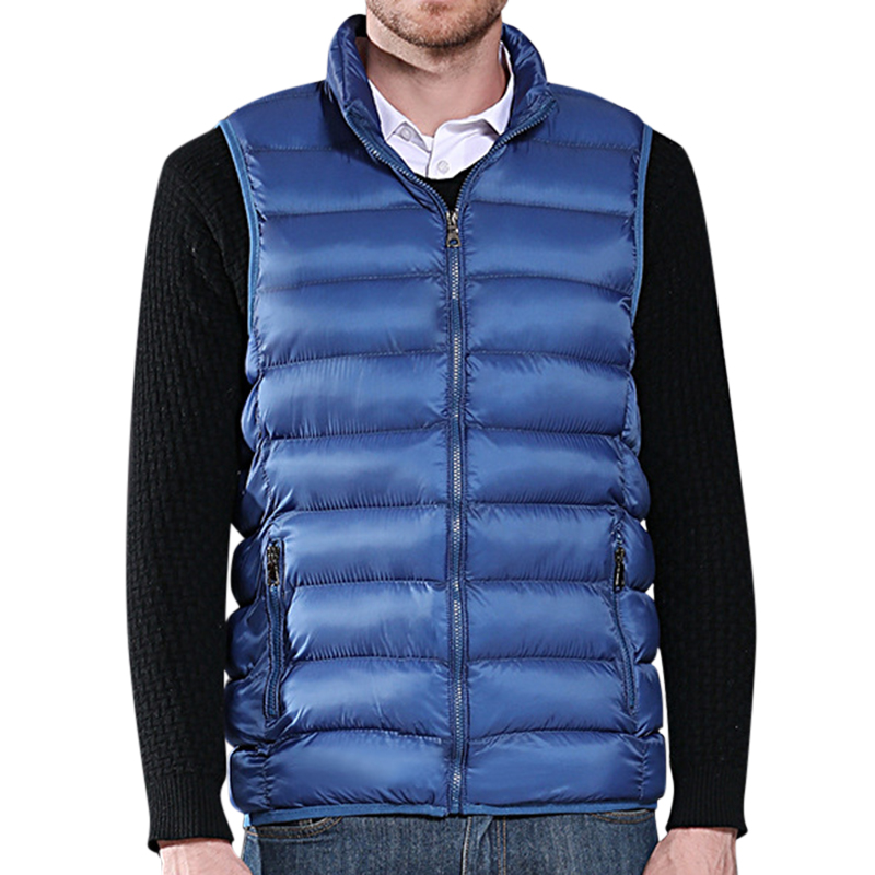 Mens Winter Lightweight Thin Sleeveless Zipper Warm Vest