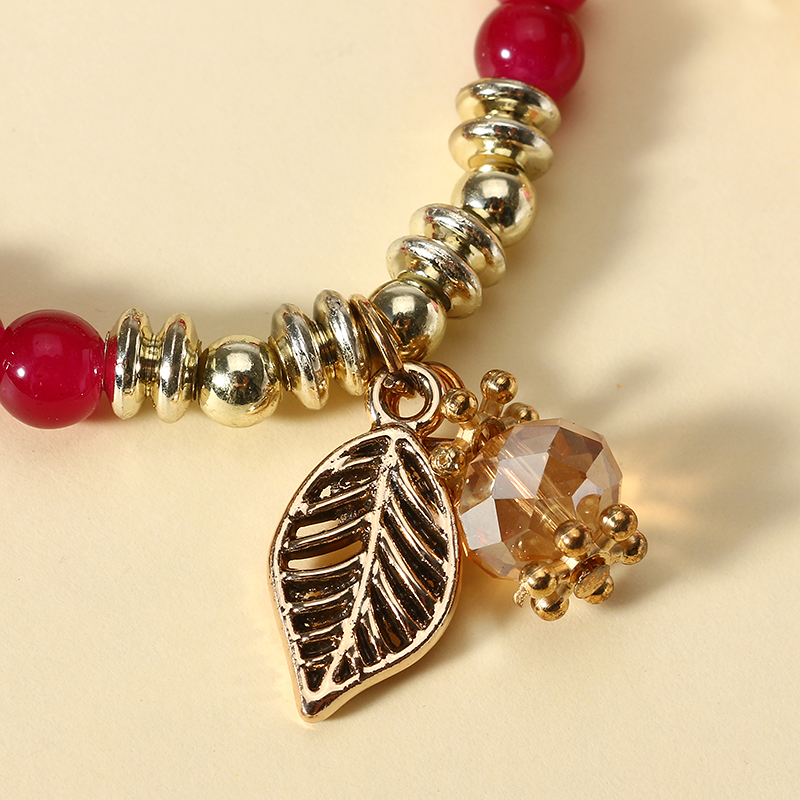 Bohemian Multilayer Crystal Bead Leaf Pendant Bracelet