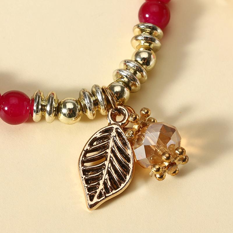 Bohemian Multilayer Crystal Bead Leaf Pendant Bracelet