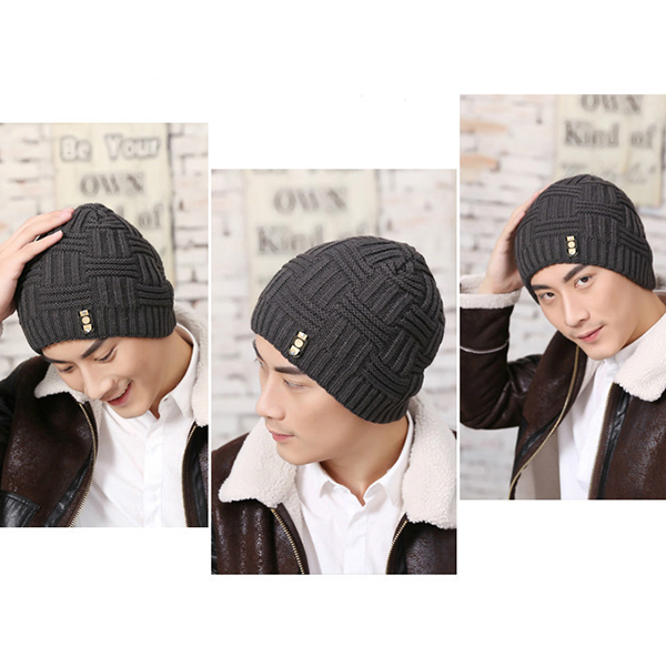 Winter Thicken Windproof Plus Jacquard Ski Knitted Hat