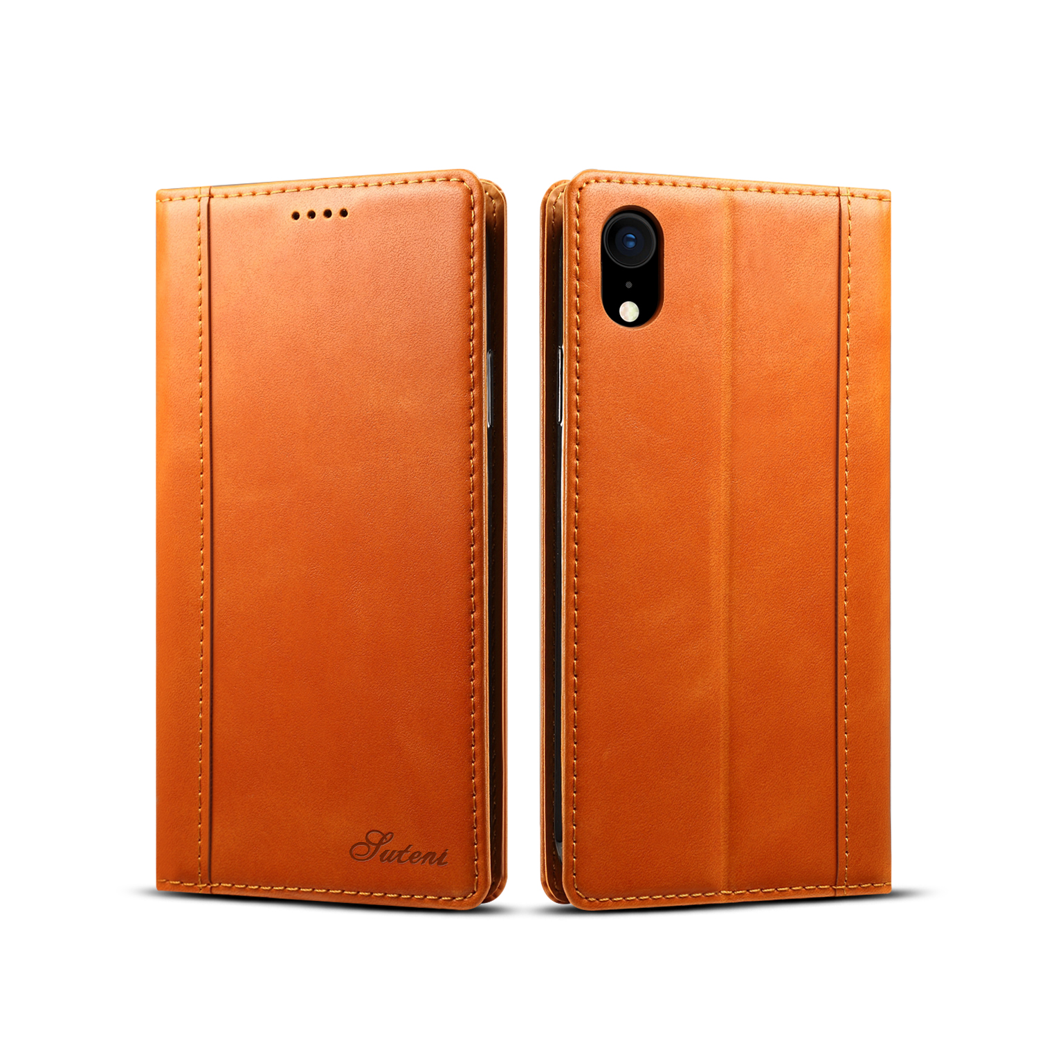 Bakeey Protective Case For iPhone XR Genuine Leather Magnetic Flip Wallet Kickstand Cover