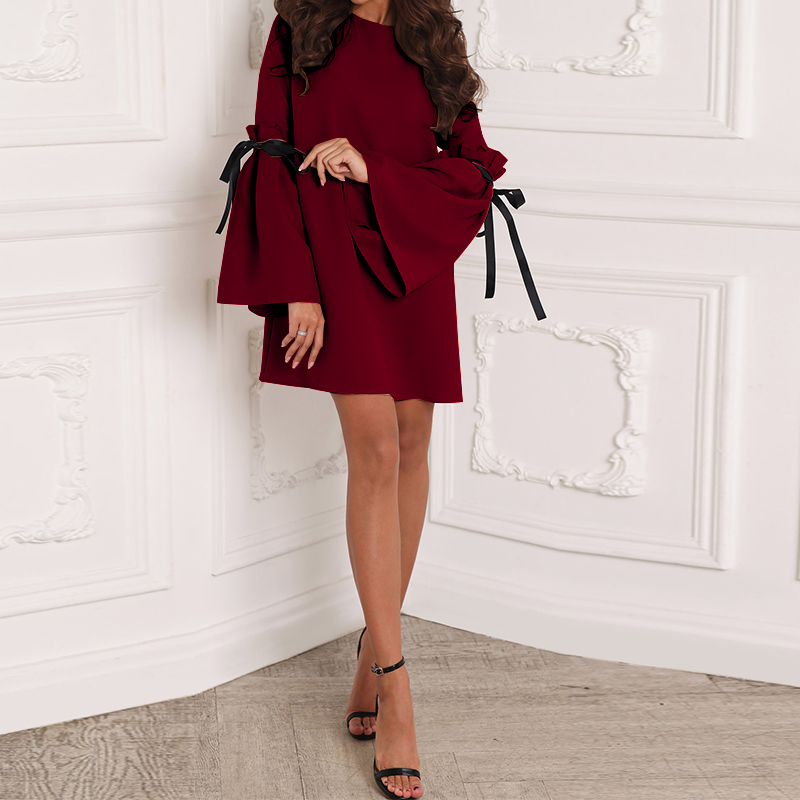 Women Casual O-neck Long Bell Sleeve Solid Color Mini Dress
