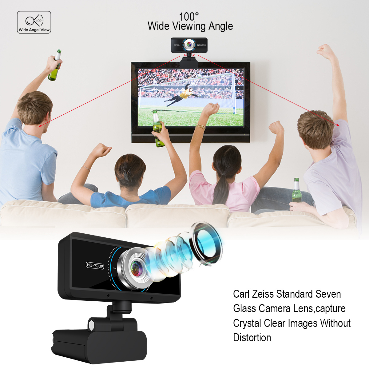 Sawake 720P HD Webcam Computer Camera with Built-in Mic 9