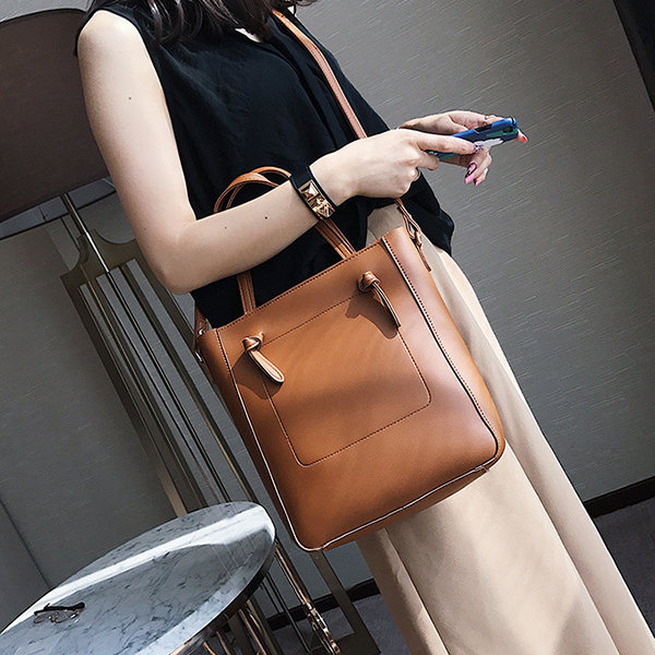 Women Quality PU Leather Retro Casual Tote Bags Handbag Crossbody Bag