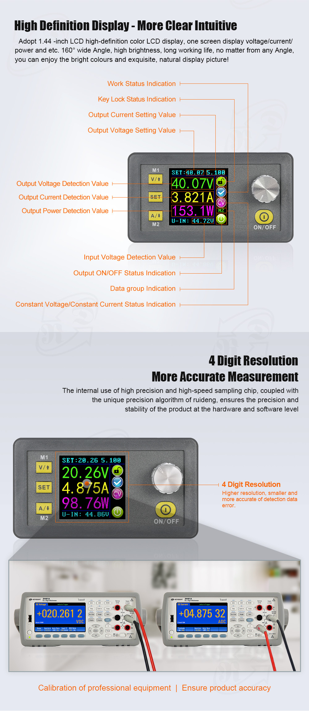 RUIDENG DPH5005 Buck-boost Converter Constant Voltage Current Programmable Digital Control Adjustable Power Supply Color LCD Voltmeter 50V 5A Module