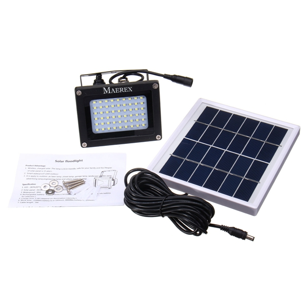 Solar Powered 54 LED Sensor Flood Light Waterproof Outdoor Security Lamp