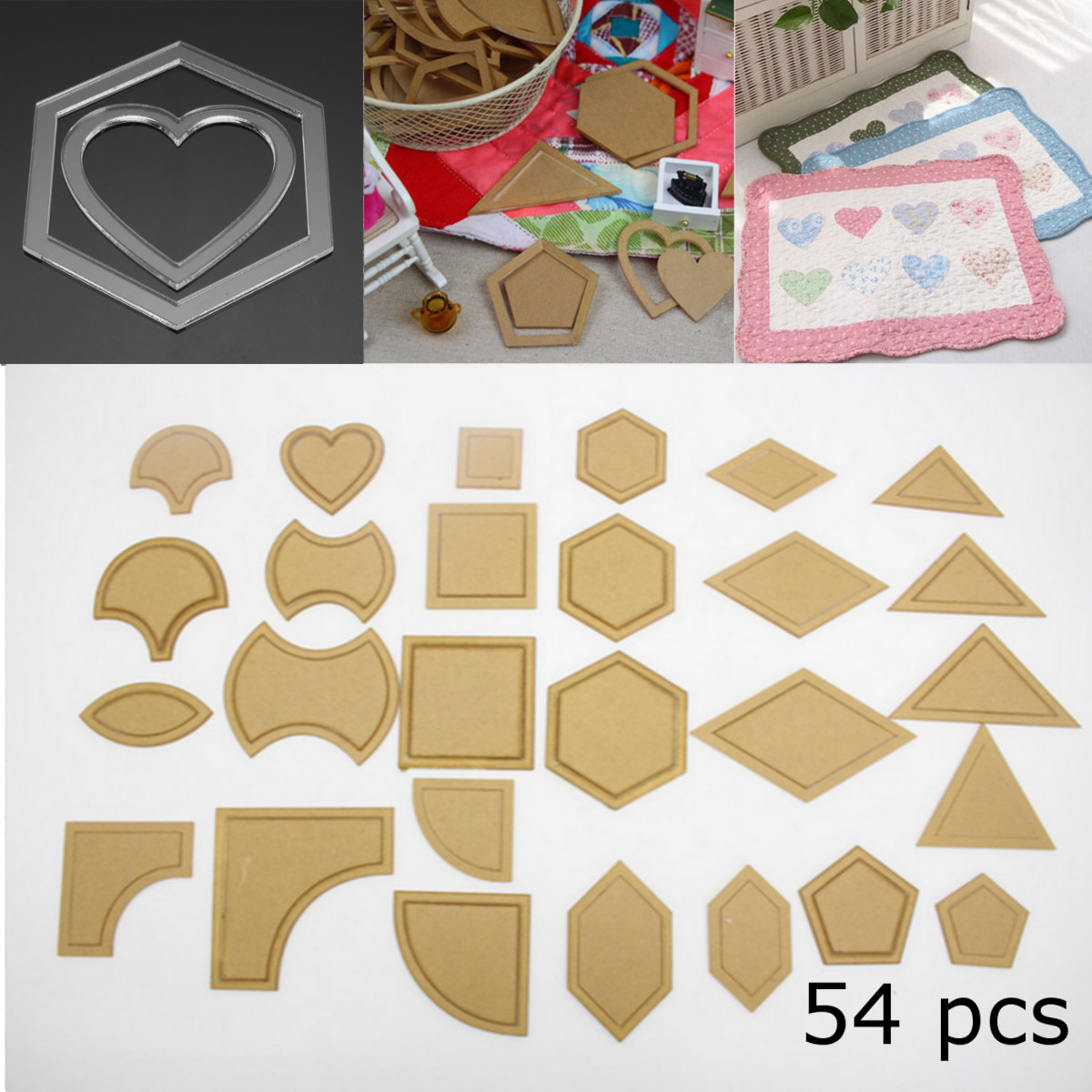54pcs Acrylic Quilting Templates Multi Shapes Ruler DIY Sewing Tool for Patchwork Craft