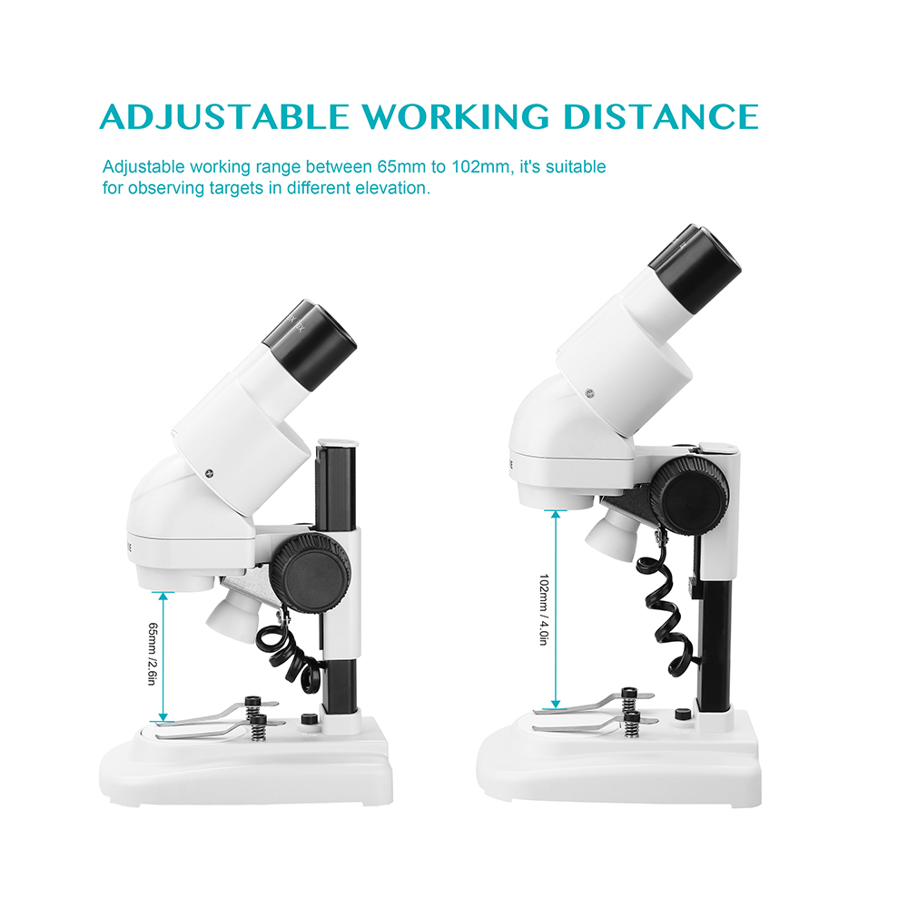 AOMEKIE 20X Binocular Stereo Microscope Top LED HD Image PCB Solder Phone Repair Specimen Mineral Watching Tool with Eyecups