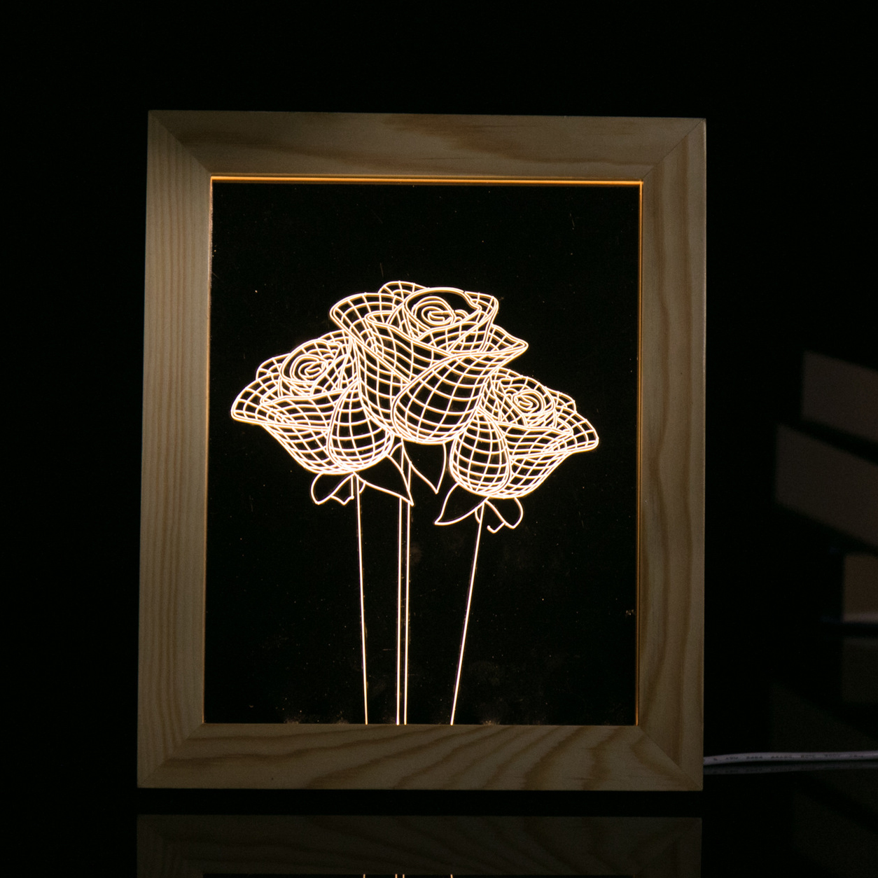 KCASA FL-723 3D Photo Frame Illuminative LED Night Light Wooden Rose Desktop Decorative USB Lamp For Bedroom Art Decor Christmas Gifts