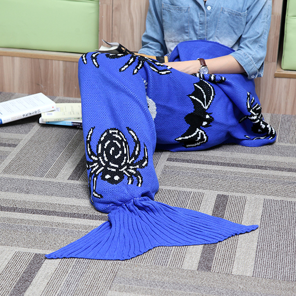 175x90cm Spider Blue Knitted Mermaid Tail Blanket Handmade Crochet Throw Super Soft Sofa Bed Mat