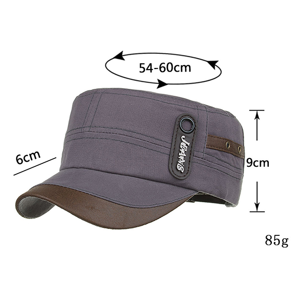 Men's Patchwork Flat Top Peaked Caps Outdoor Millitary Hat