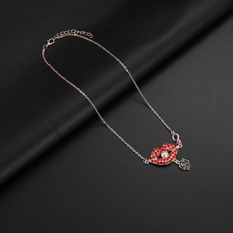 Red Lip Pearl Necklaces Black Rose Earrings Gift for Women