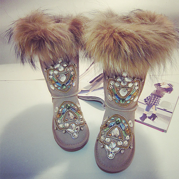 Artificial Fur Warm Knee High Snow Boots Rhinestone Shoes For Women
