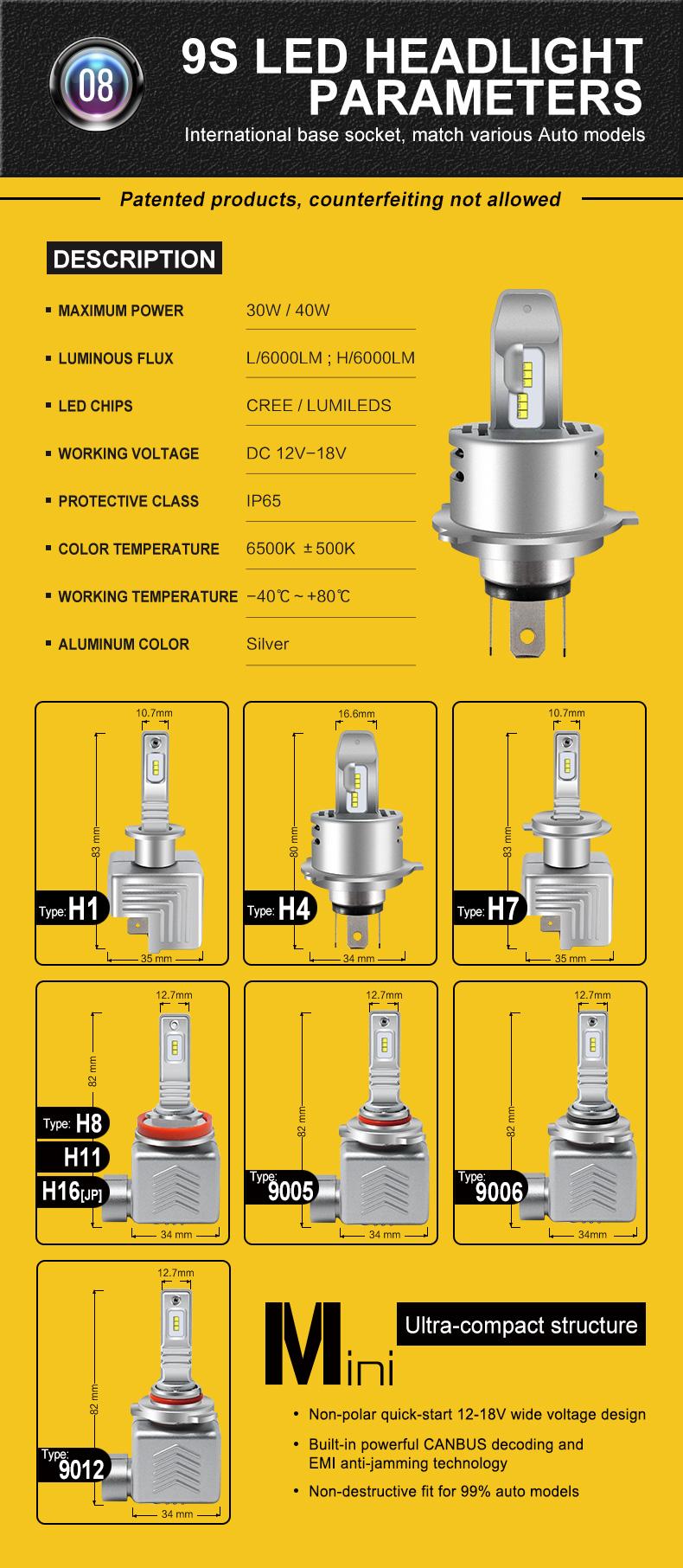 9S Car LED Headlights Bulbs Fog Lamp H1 H4 H7 IP68 100W 12000LM 6500K White 2PCS