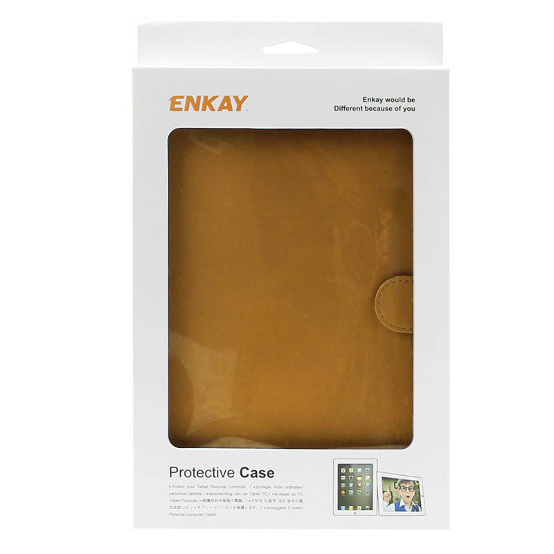 ENKAY PU Retro Matte With Card Slot & Bracket Smart Sleep Protection Cases For iPad Mini 4