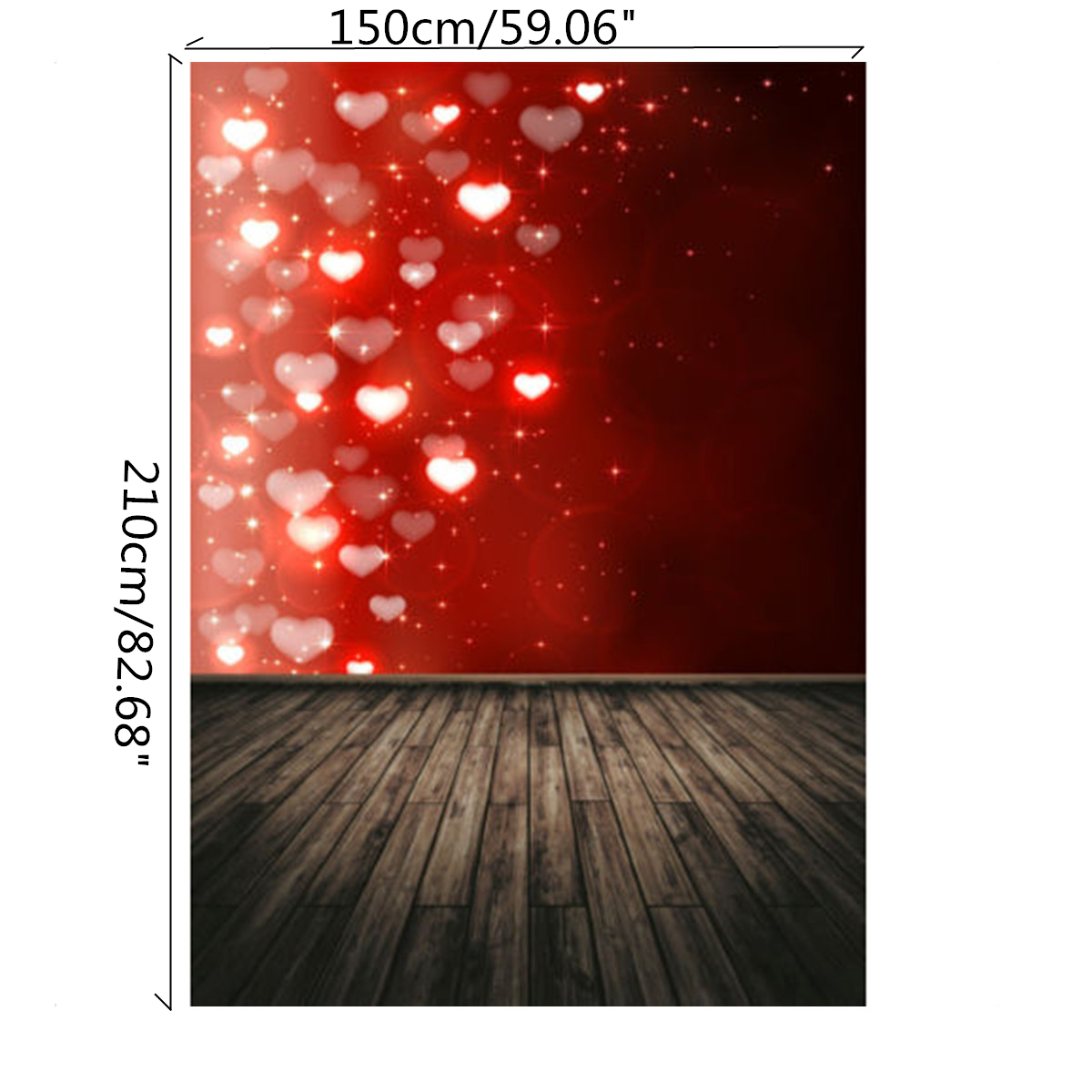 5x7FT Red Flashing Love Board Valentine's Day Theme Photography Backdrop Studio Prop Background