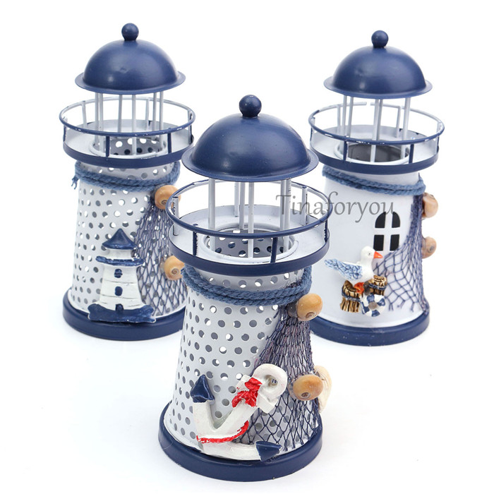 Mediterranean Iron Lighthouse Craft Ornaments Ocean Home Decor LED Candle Light Candle Holder