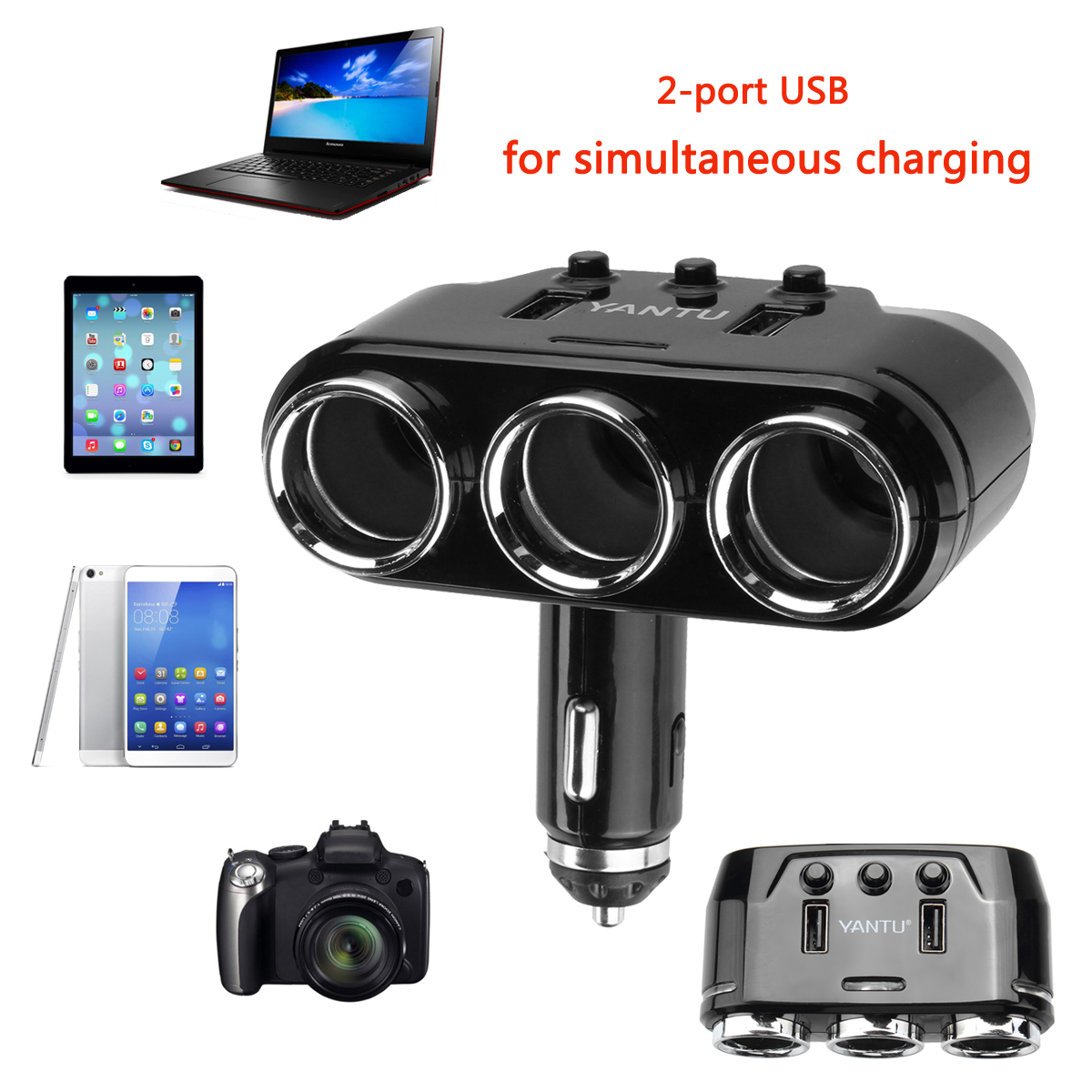 Dual USB Port 3 Way Auto Charger Car C igarette L ighter Socket Splitter Adapter