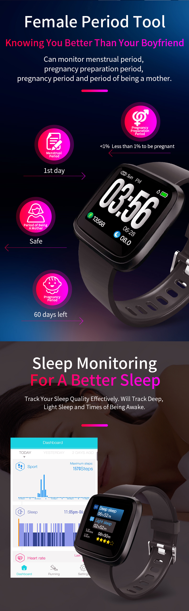 XANES® H108 1.3'' Color Touch Screen Smart Watch Heart Rate Monitor Message Push Fitness Exercise Sports Bracelet