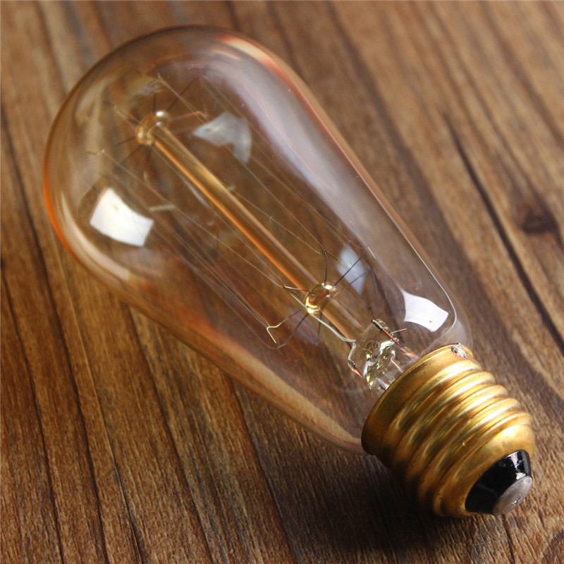 E27 60W ST58 Edison Bulb Antique Filament Lamp Retro Vintage Light 220V/110V