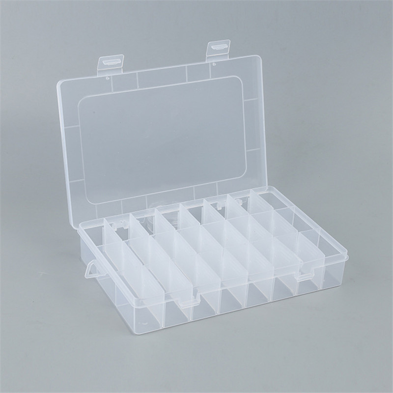 Adjustable 24 Grids Plastic Clear Case Box Holder Container Pills Jewelry Earring Nail Art Tips In Desk Small Storager