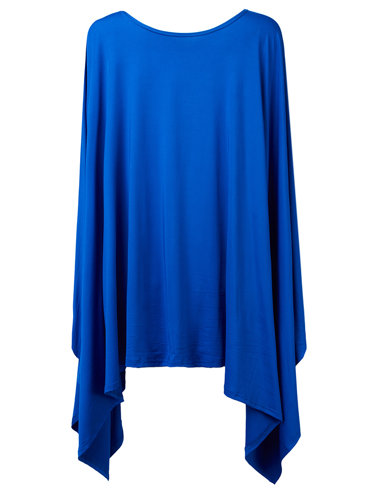 Loose Women Batwing Sleeve Cloak Solid Asymmetric Jersey Dress