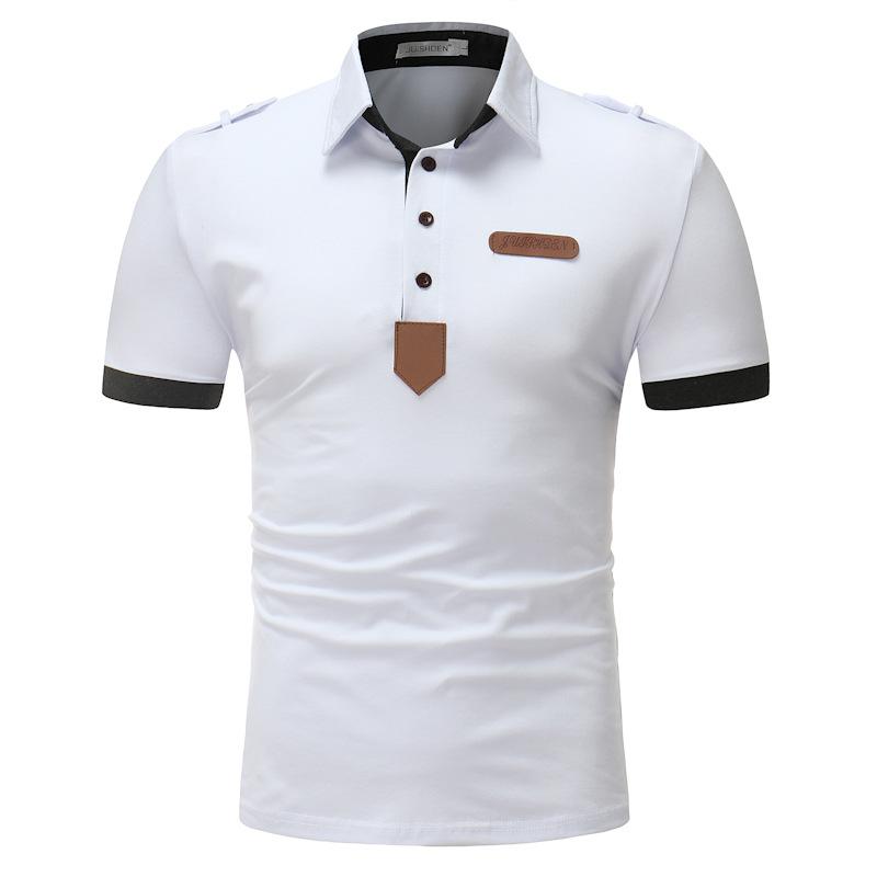 Men's Solid Color PU Leather Decorative Golf Shirt