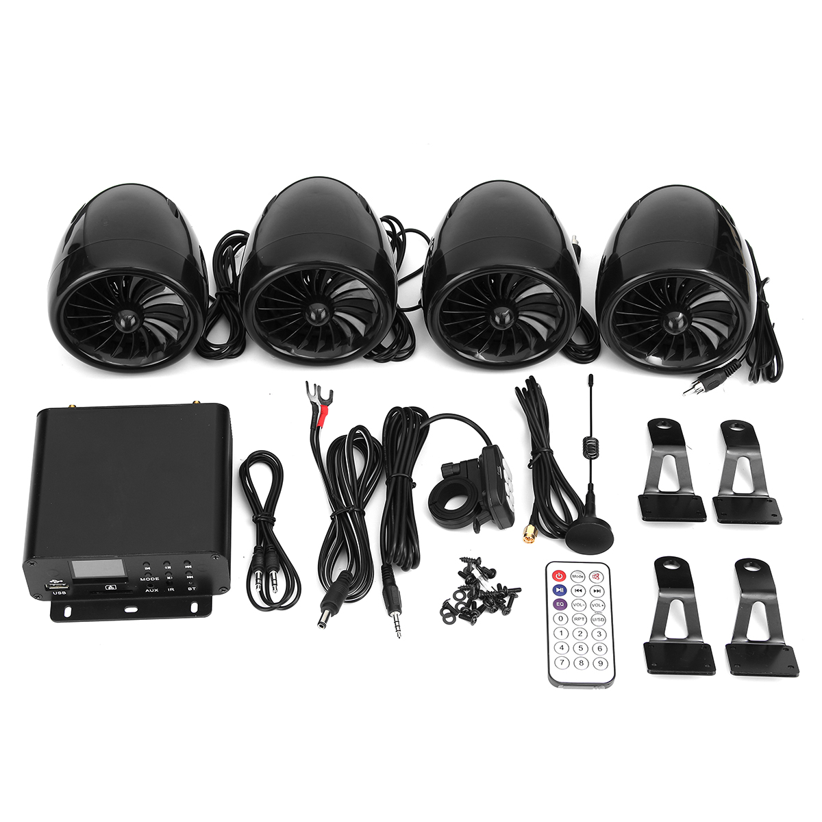 1000W LCD bluetooth 4 Speakers+Amplifier System Handlebar Mount Remote Control For Motorcycle/ATV