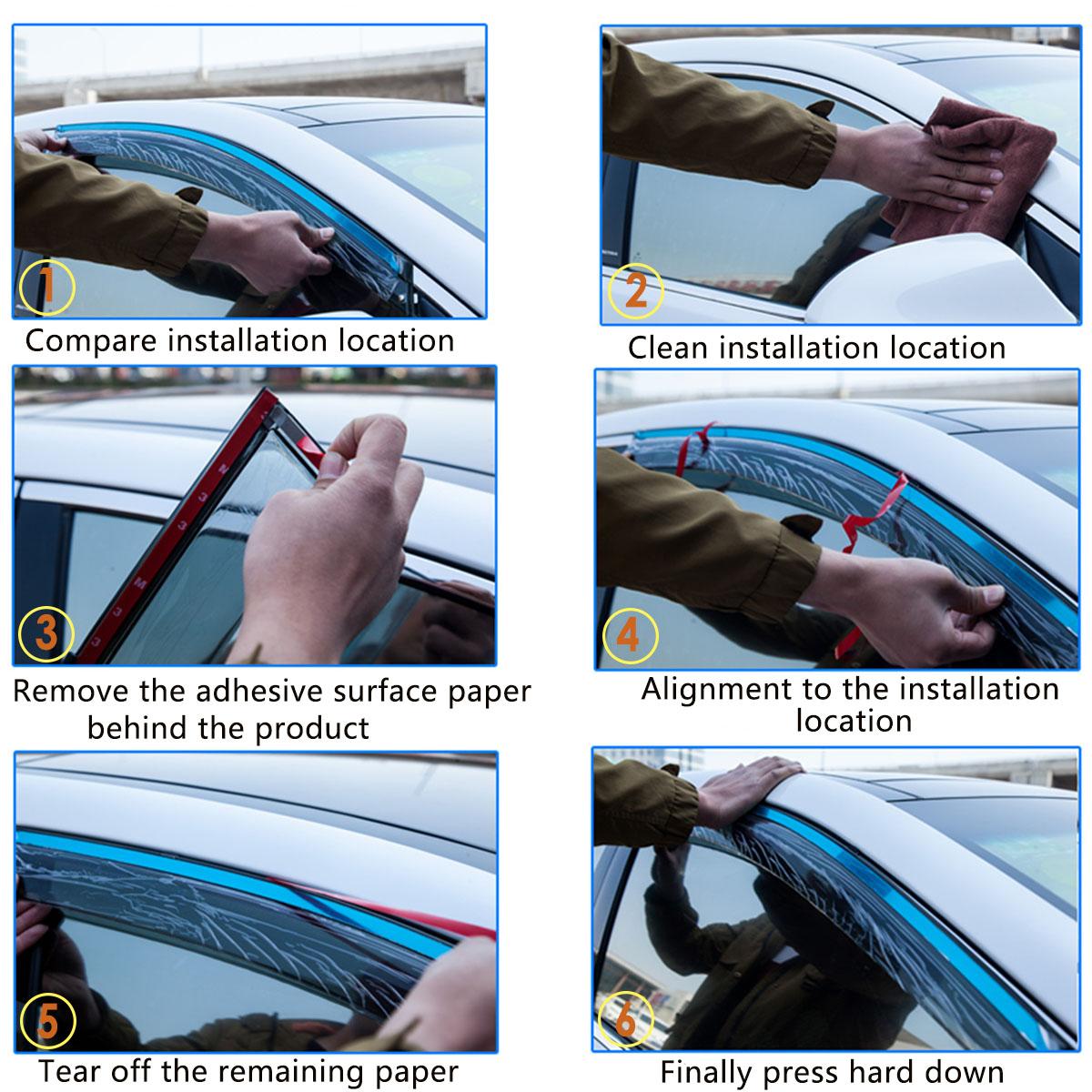 4pcs Car Window Sun Visor Vent Rain Sun Shade Guard Deflectors For Toyota RAV4 13-18