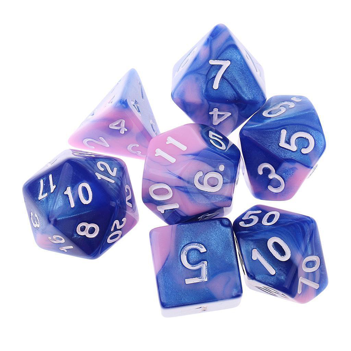 7Pcs Pink Blue Gemini Acrylic Polyhedral Dice For Dungeons Dragons RPG RPG With Bag