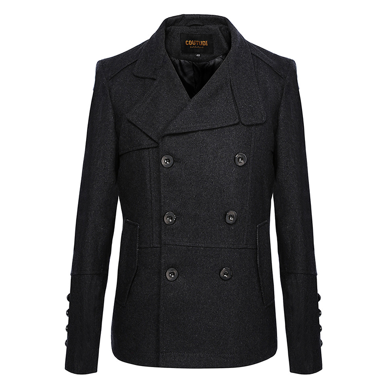 Mens Slim Fit Double Breasted Pea Coat Solid Color Trench