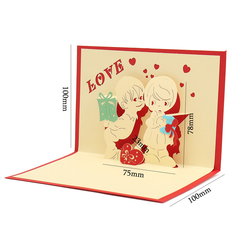 3D Pop Up LOVE Greeting Card Table Birthday Christmas Post Card Gift Craft DIY