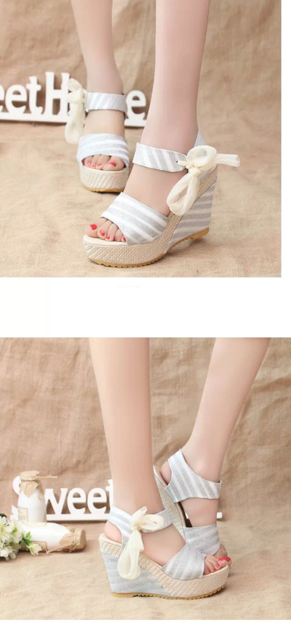 Women Summer Beach Sandals Peep Toe Wadge Shoes Magic stick Sandals