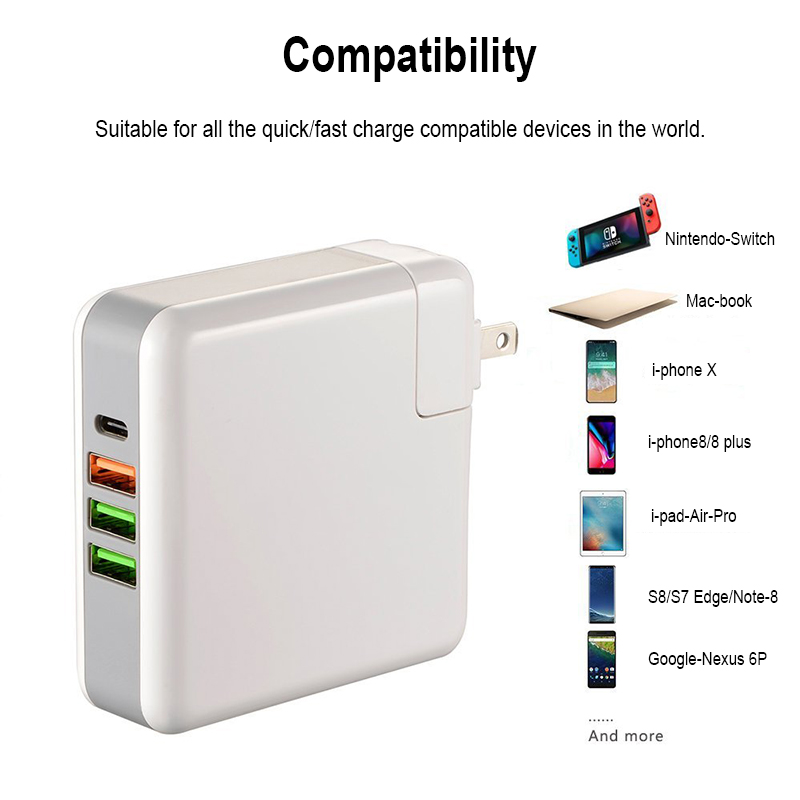 Bakeey 4-Ports USB-C PD Quick Charge 61W 3.0 Wall USB Charger US/UK/EU Plug for Mobile Phone