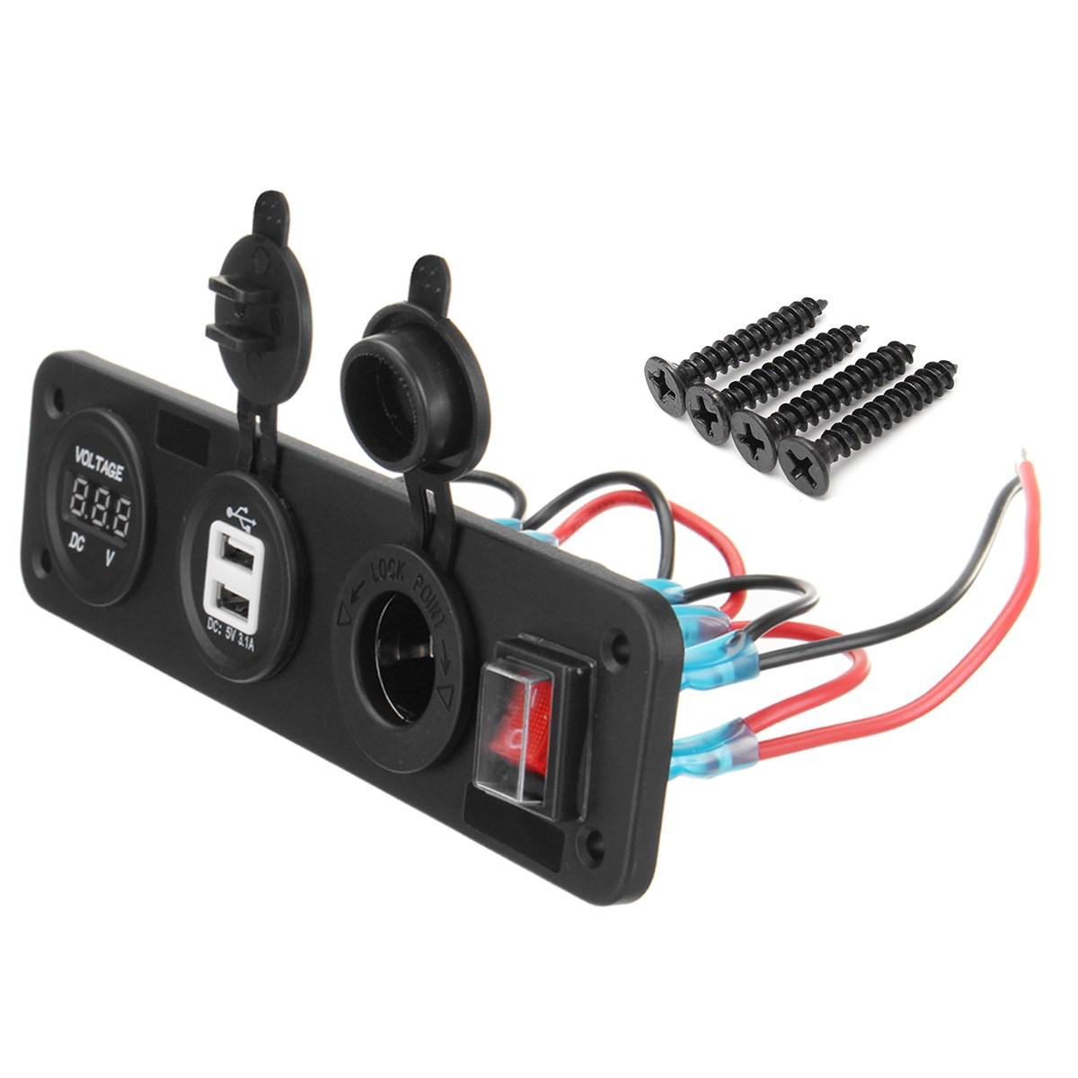 12V Dual USB Charger Car Boat Cigarette Lighter Socket Power Voltmeter Switch