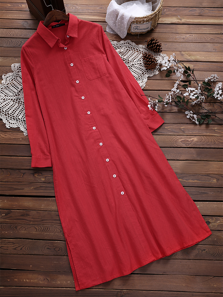 Women Cotton Long Sleeves Pockets Shirt Dress