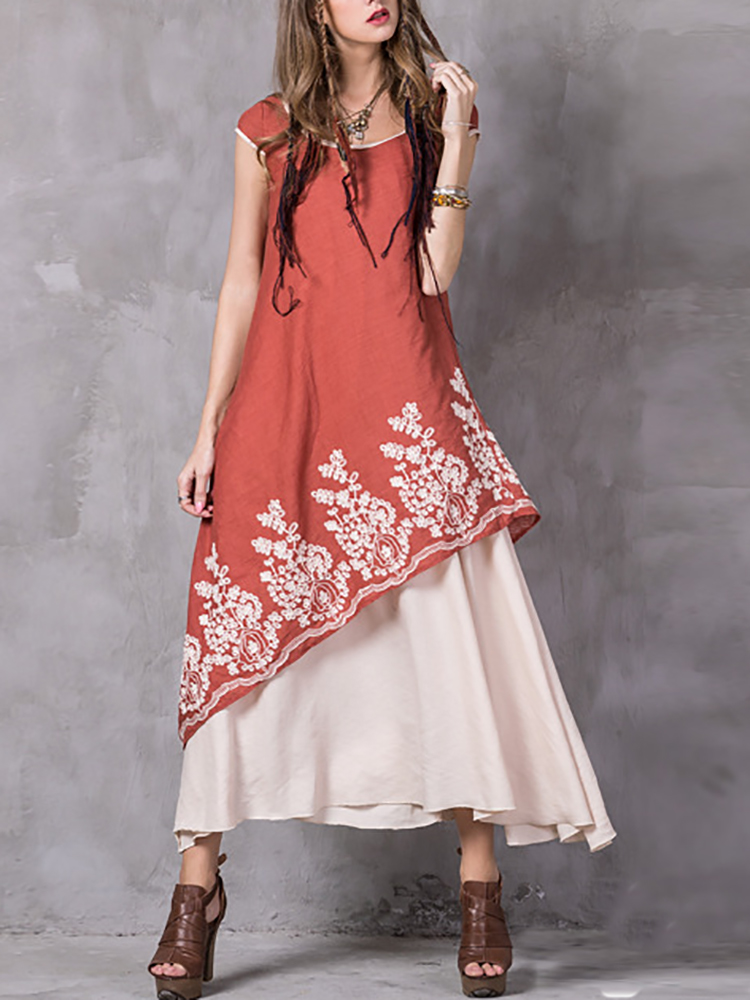 Embroidered O-Neck Short Sleeve Layered Dress For Women