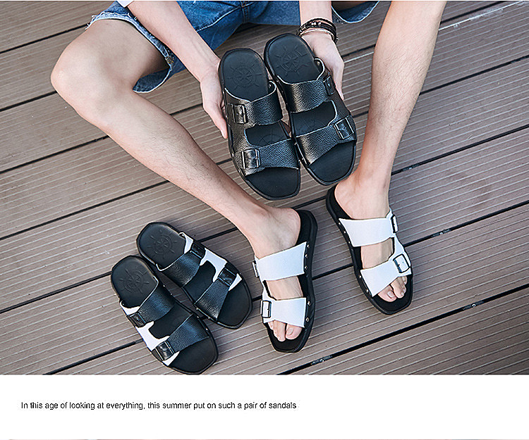 S-0056 Summer Fashion Men Male Cool Genuine Leather Open Toe Casual Beach Shoes Slippers Sandals