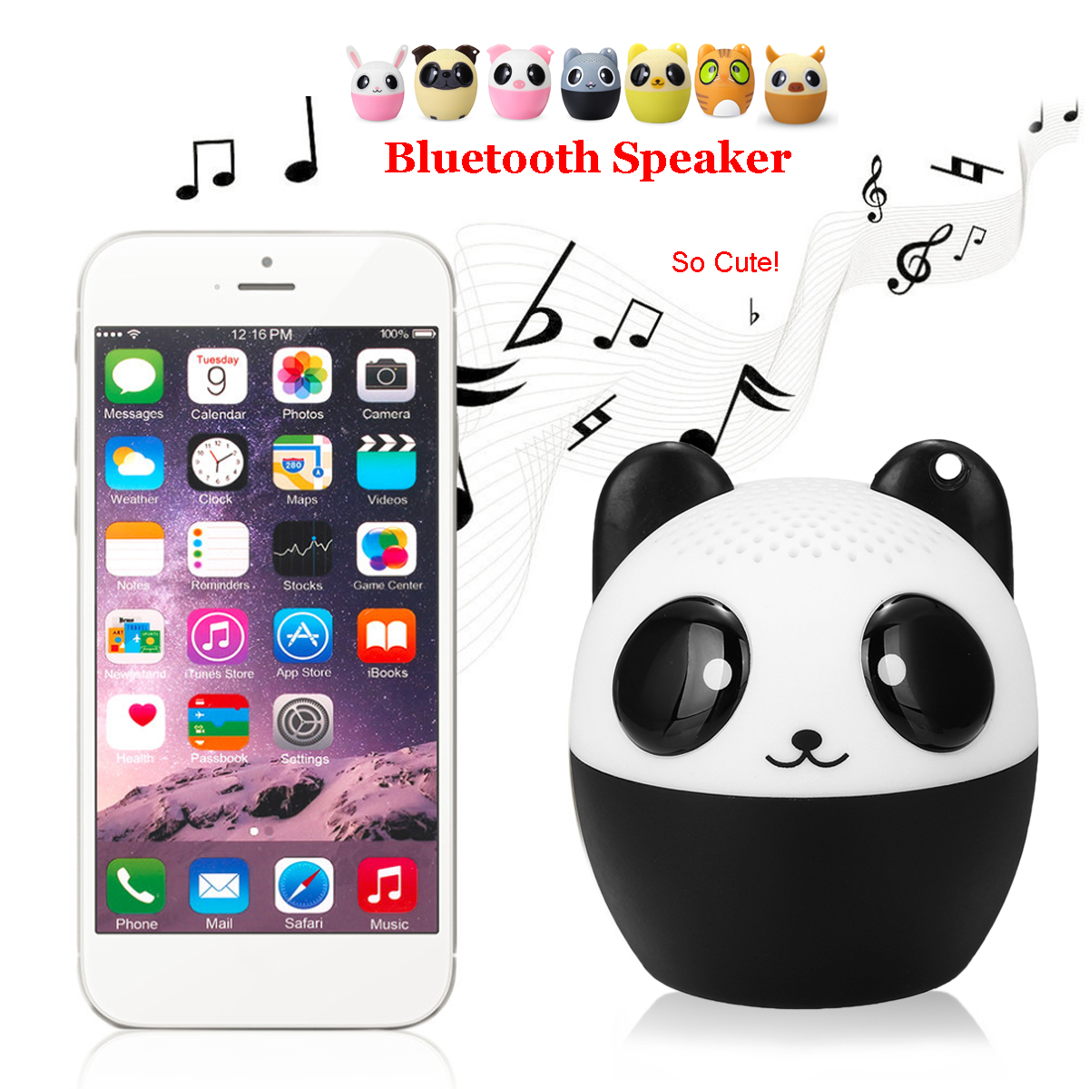 Mini Portable Cute Animal Wireless bluetooth Speaker Music Player Stereo Loudspeaker Selfie Timer