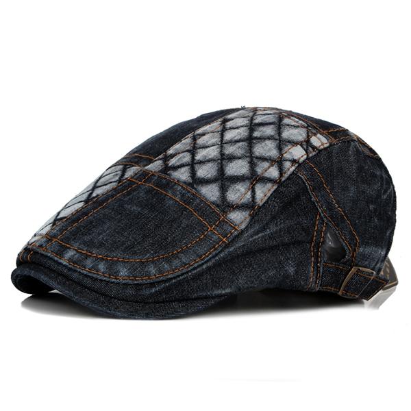 Mens Washed Denim Grid Beret Hat Casual Outdoor Visor Forward Hat Adjustable