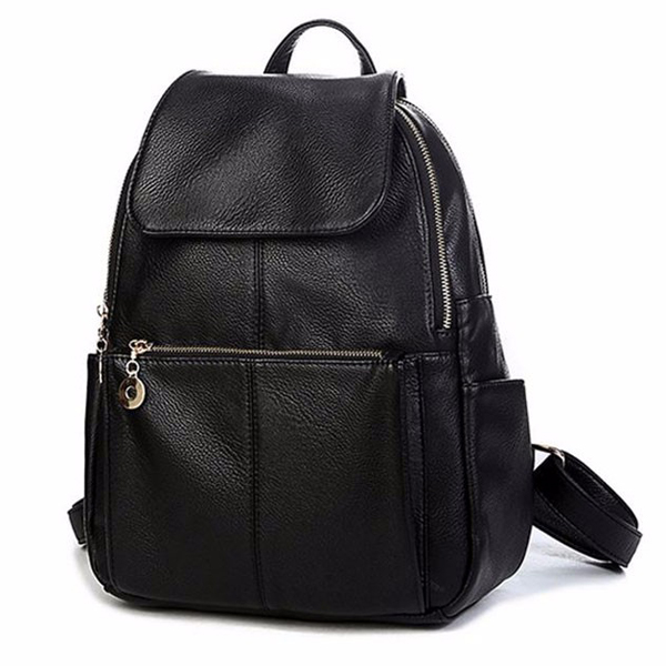 Women Simple Style PU Leather Black Travel Shoulder Backpack