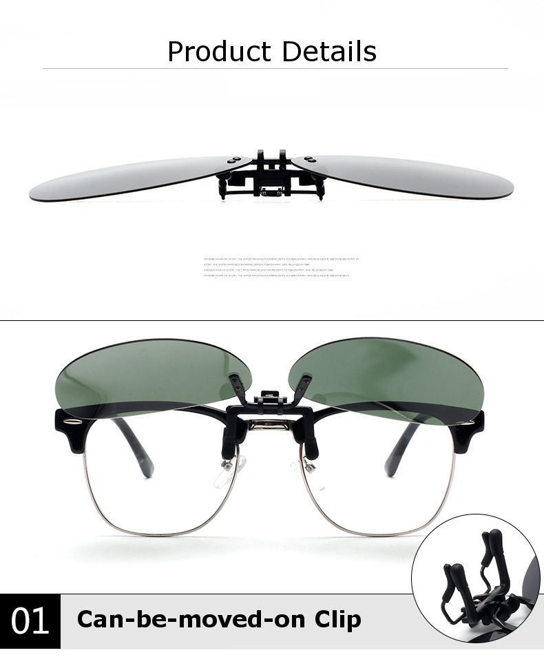 BIKIGHT Mirror Pilot Polarized Clip on Sun Glassess Night Vision Lens Polaroid Sun Glassess