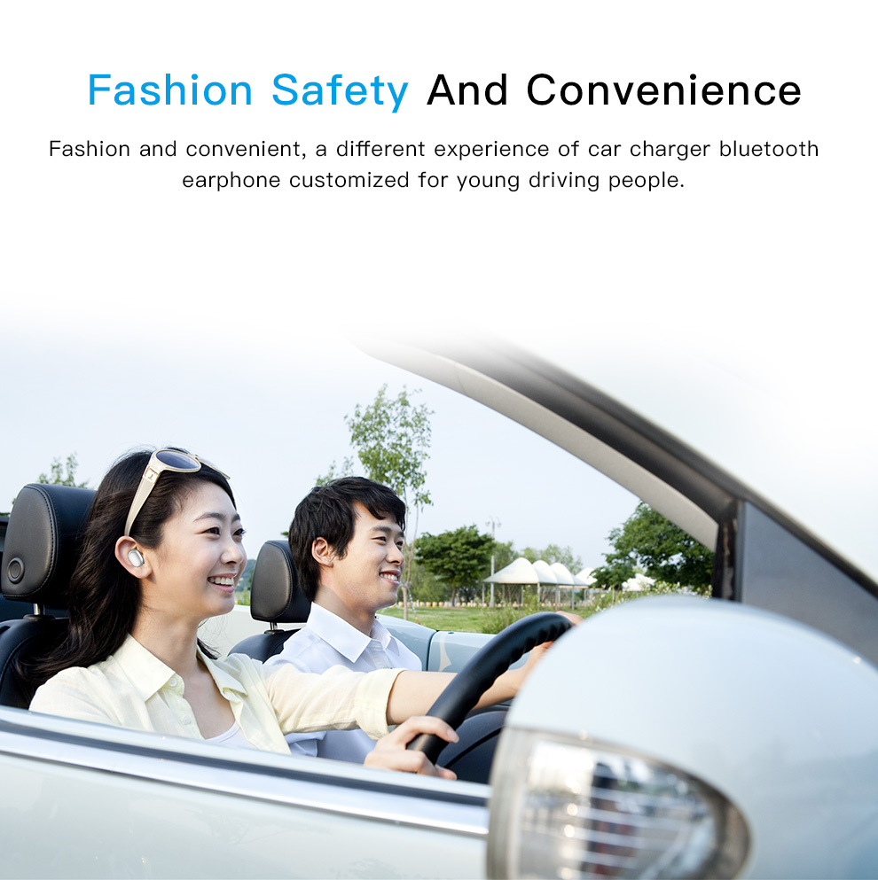 2 in 1 Dual USB Car Charger Wireless bluetooth Earphone Stereo Handsfree Car Kit Headset Earpone