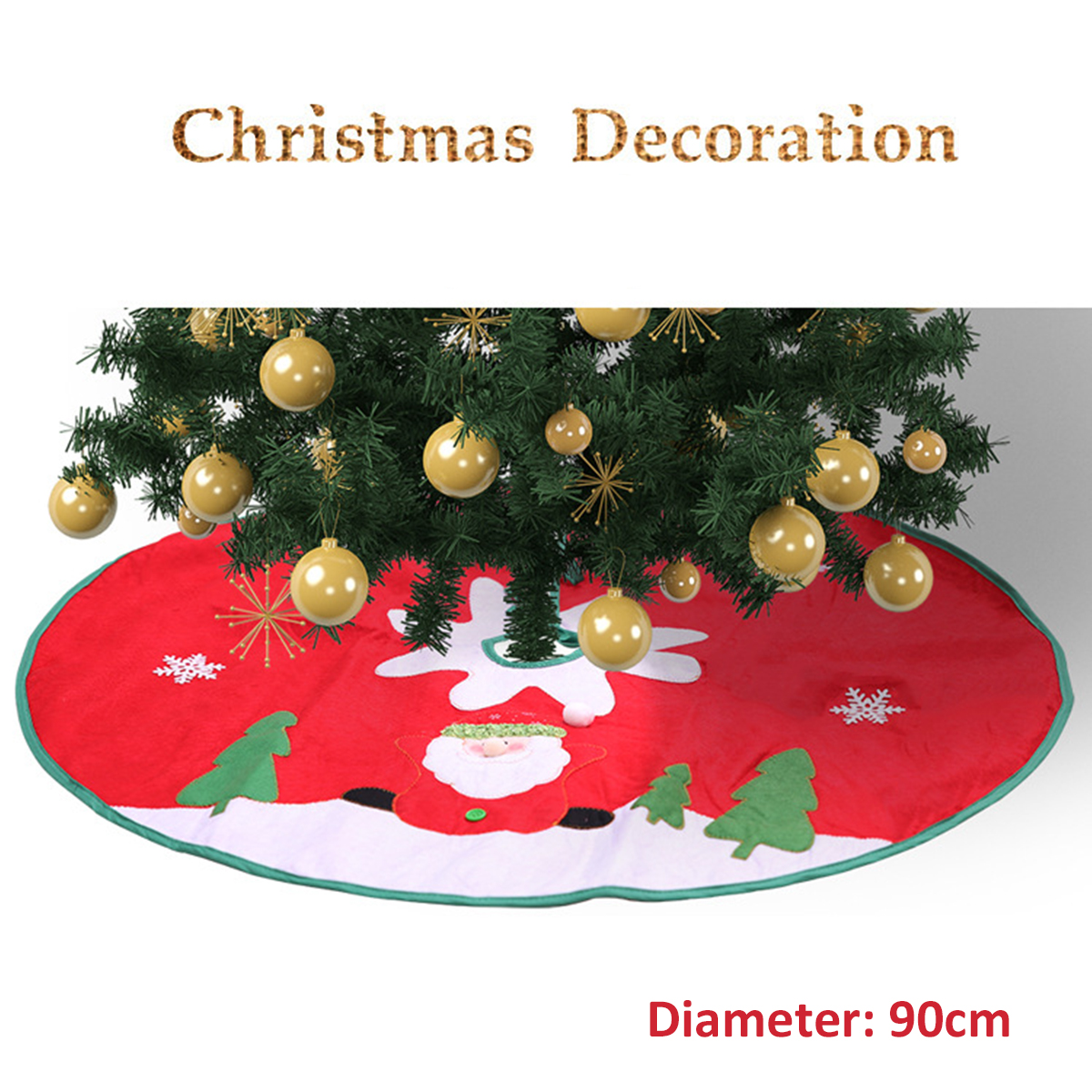 90cm Red Christmas Tree Skirt Carpet Party Gift Decor Pad Ornaments Round Mat Decorations