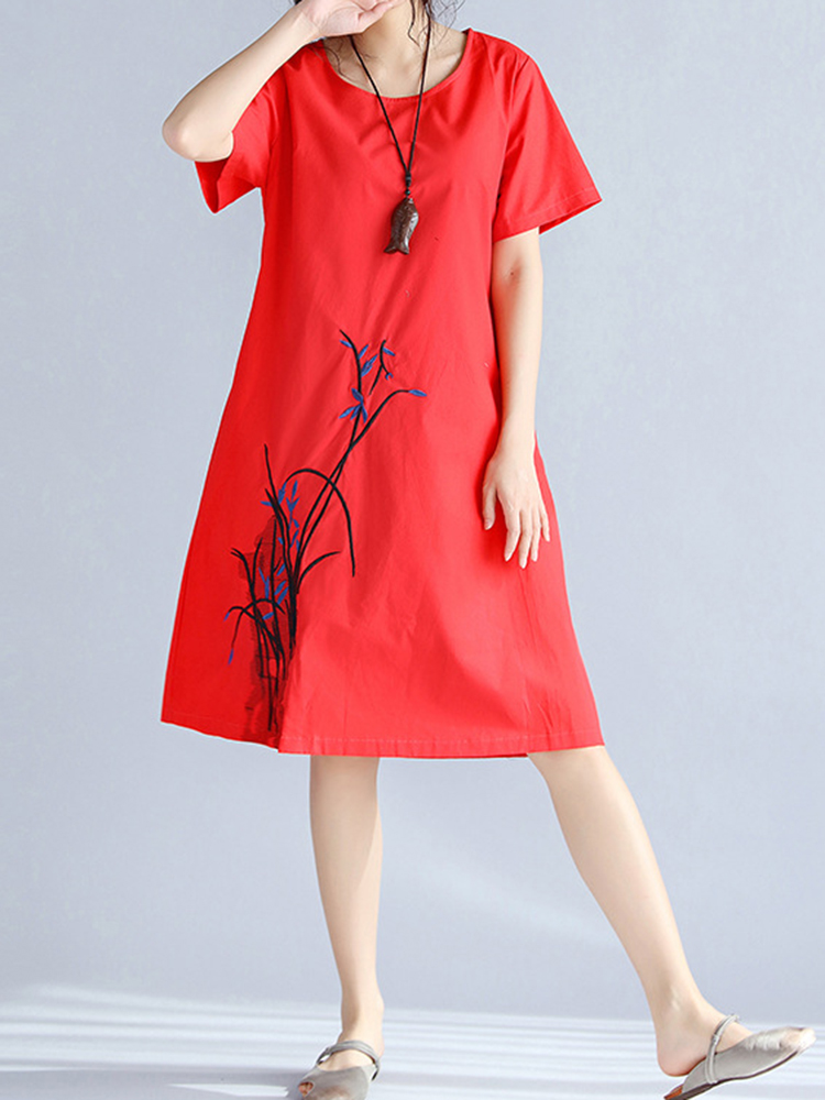 Vintage Short Sleeve Embroidery Loose O-neck Women Dresses