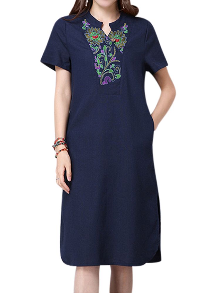 Women Short Sleeve Ethnic Embroidery Cotton Stand collar Dress
