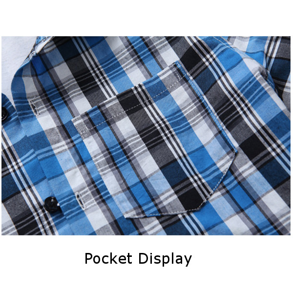 Summer Mens Casual Business Short Sleeve Shirt Fashion Plaid Slim Fit Shirts
