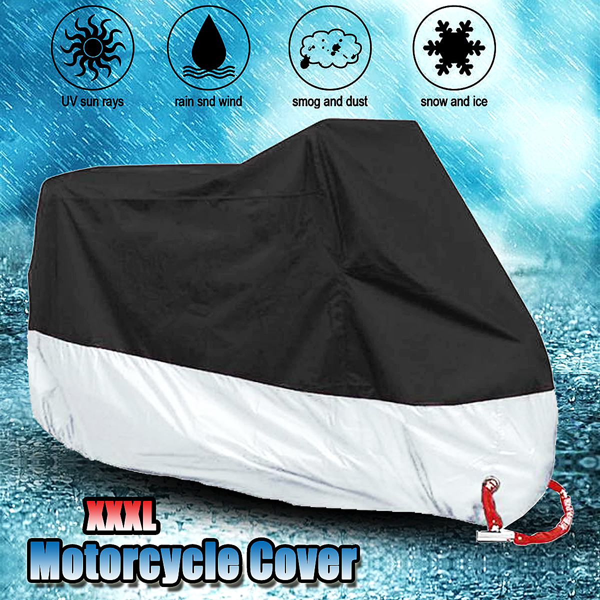 295x110x140CM XXXL Motorcycle Cover Waterproof Rain Dust UV Protector All Weather Rain Heavy Duty