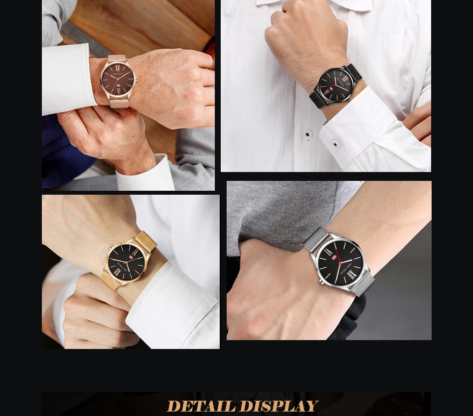 MINI FOCUS MF0018G Men Watch Simple Design Analog Quartz Movement Watch