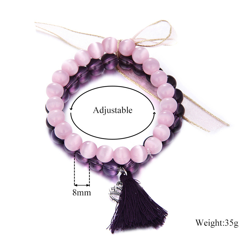 Sweet Amethyst Crystal Opal Beads Heart Tassels Elegant Two-layer Bracelet Women Jewelry